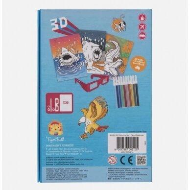 """3D spalvinimo rinkinys su flomasteriais """"Laukiniai gyvūnai"""" 3"""