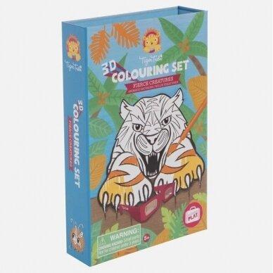 """3D spalvinimo rinkinys su flomasteriais """"Laukiniai gyvūnai"""" 4"""