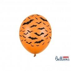 Oranžiniai balionai su šikšnosparniais 6 vnt