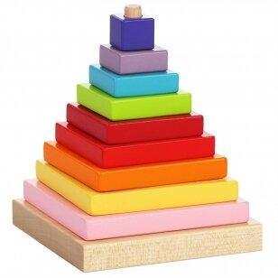 """Cubika medinių kaladėlių rinkinys """"Piramidė"""""""