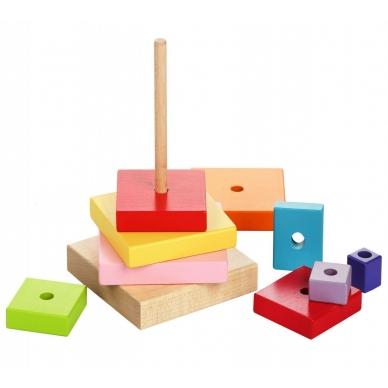 """Cubika medinių kaladėlių rinkinys """"Piramidė"""" 3"""