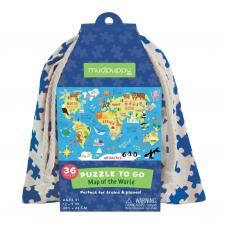 """Dėlionė maišelyje """"Pasaulio žemėlapis"""""""
