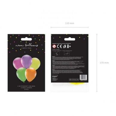Ryškiaspalvių balionų rinkinys 25 cm, 5vnt