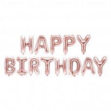 """Foliniai balionai  """"HAPPY BIRTHDAY"""" rožinio aukso"""