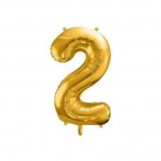 "Folinis balionas  ""2"" auksinis, 86 cm"