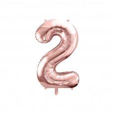 """Folinis balionas """"2"""" rožinio aukso, 86 cm"""