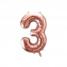 """Folinis balionas """"3"""" rožinio aukso, 86 cm"""
