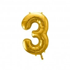 "Folinis balionas  ""3"" auksinis, 86 cm"