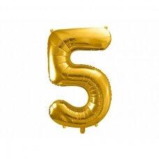 "Folinis balionas  ""5"" auksinis, 86 cm"