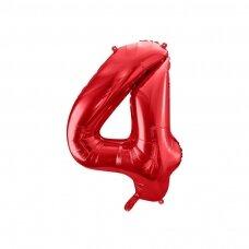 """Folinis balionas """"4"""" raudonas, 86 cm"""