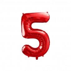 """Folinis balionas """"5"""" raudonas, 86 cm"""