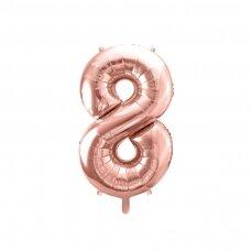"""Folinis balionas """"8"""" rožinio aukso, 86 cm"""