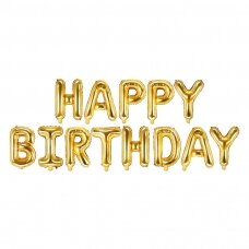 """Foliniai balionai  """"HAPPY BIRTHDAY"""" auksiniai"""