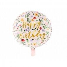 "Folinis apvalus balionas ""Happy birthday"""