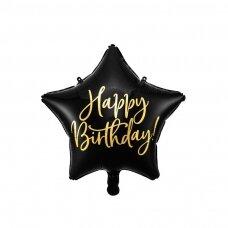 """Folinis balionas """"Happy Birthday"""" 40cm juodas"""