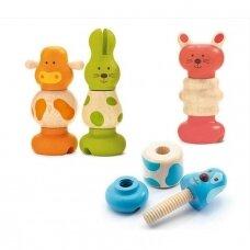 """Djeco lavinamasis susukumas medinis žaislas """"Gyvūnai"""""""