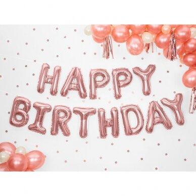 """Foliniai balionai  """"HAPPY BIRTHDAY"""" rožinio aukso 2"""