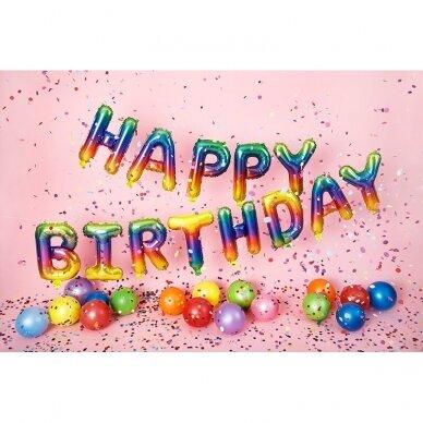 "Foliniai balionai  ""HAPPY BIRTHDAY"" margi 2"
