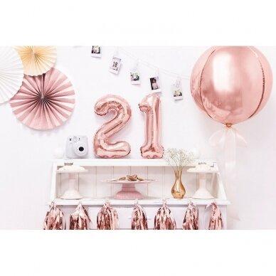 """Folinis balionas  """"2"""" rožinio aukso, 35 cm 3"""