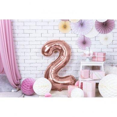 """Folinis balionas """"2"""" rožinio aukso, 86 cm 2"""