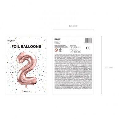 """Folinis balionas """"2"""" rožinio aukso, 86 cm 3"""