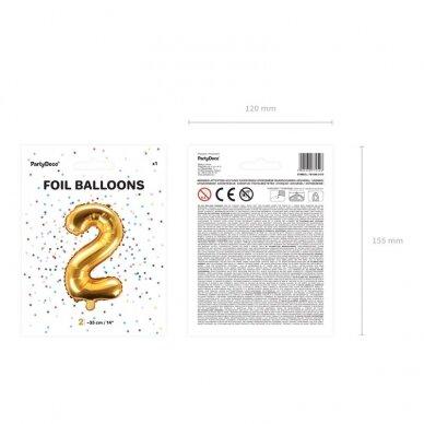 "Folinis balionas  ""2"" auksinis, 35 cm  4"
