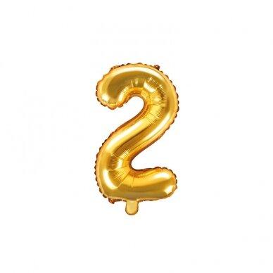 "Folinis balionas  ""2"" auksinis, 35 cm  2"