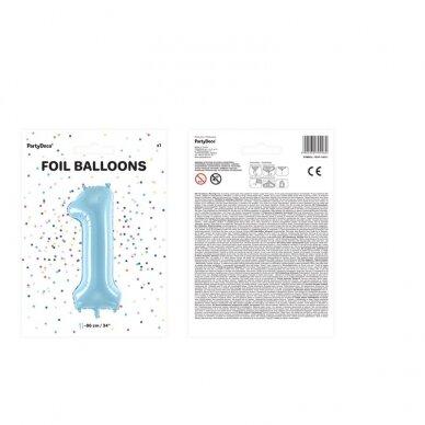 "Folinis balionas  ""1"" melsvas, 86 cm 3"