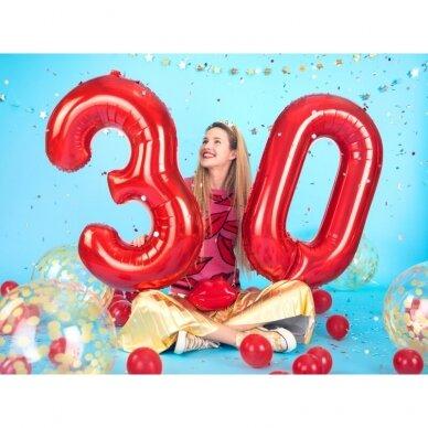 """Folinis balionas """"3"""" raudonas, 86 cm 2"""