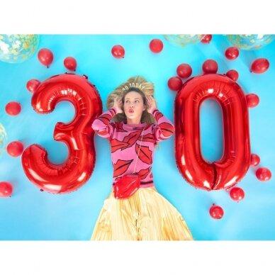 """Folinis balionas """"3"""" raudonas, 86 cm 3"""