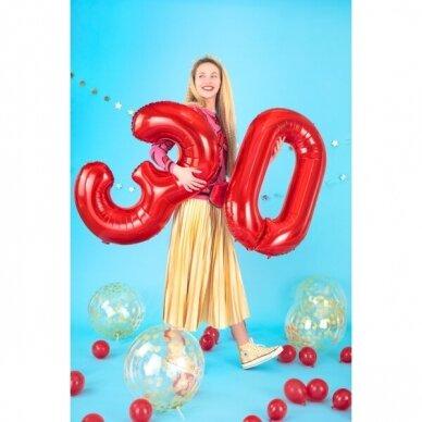 """Folinis balionas """"3"""" raudonas, 86 cm 4"""