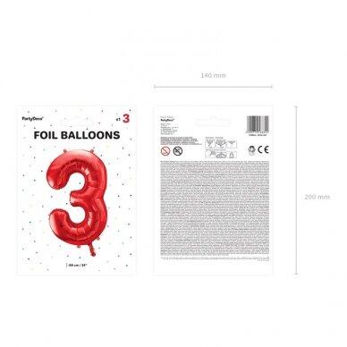 """Folinis balionas """"3"""" raudonas, 86 cm 5"""