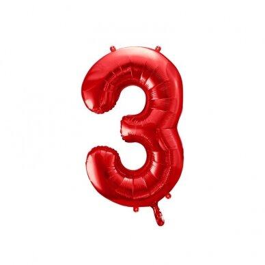 """Folinis balionas """"3"""" raudonas, 86 cm"""