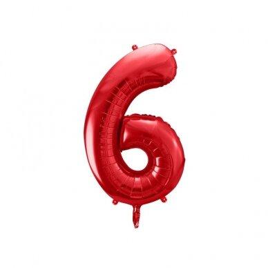 """Folinis balionas """"6"""" raudonas, 86 cm"""
