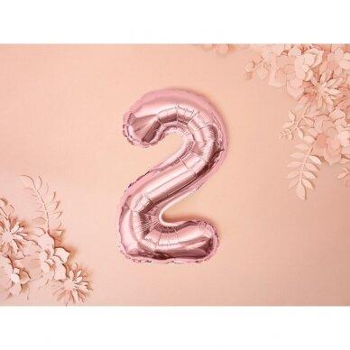 """Folinis balionas  """"2"""" rožinio aukso, 35 cm 2"""