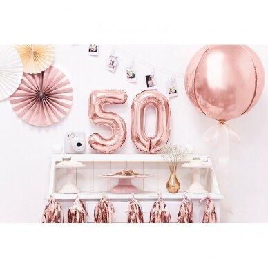 """Folinis balionas  """"5"""" rožinio aukso, 35 cm 3"""