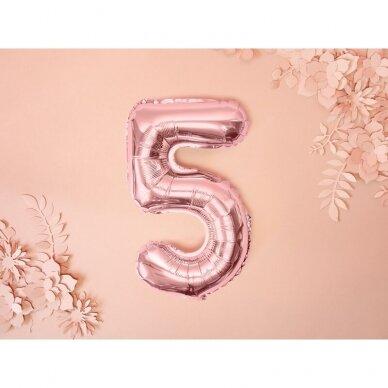 """Folinis balionas  """"5"""" rožinio aukso, 35 cm 2"""
