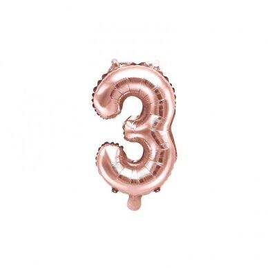 """Folinis balionas  """"3"""" rožinio aukso, 35 cm"""