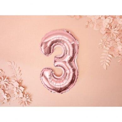 """Folinis balionas  """"3"""" rožinio aukso, 35 cm 2"""
