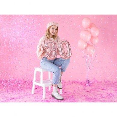 """Folinis balionas  """"3"""" rožinio aukso, 35 cm 3"""