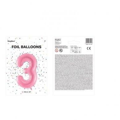 """Folinis balionas  """"3"""" rožinis, 86 cm 3"""