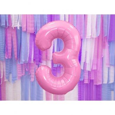 """Folinis balionas  """"3"""" rožinis, 86 cm 2"""