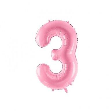 """Folinis balionas  """"3"""" rožinis, 86 cm"""