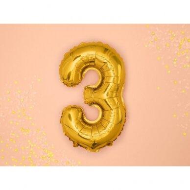 "Folinis balionas  ""3"" auksinis, 35 cm"