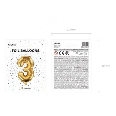 "Folinis balionas  ""3"" auksinis, 35 cm 4"