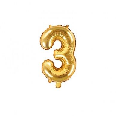 "Folinis balionas  ""3"" auksinis, 35 cm 3"