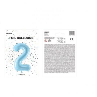 "Folinis balionas  ""2"" melsvas, 86 cm 3"