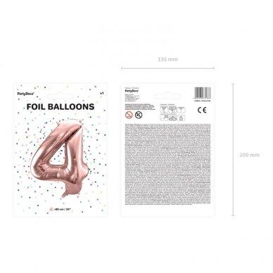 """Folinis balionas """"4"""" rožinio aukso, 86 cm 3"""