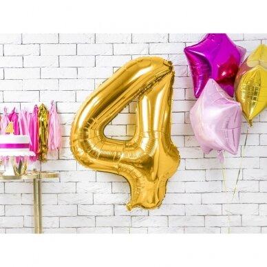 "Folinis balionas  ""4"" auksinis, 86 cm 2"