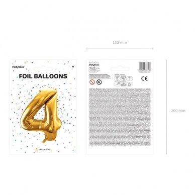 "Folinis balionas  ""4"" auksinis, 86 cm 3"